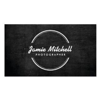 OPEN CIRCLE LOGO on BLACK WOOD Business Card Template