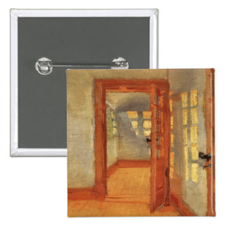Open door sunny impressionist interior Anna Ancher 15 Cm Square Badge