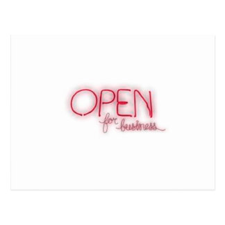 Open for busines Aberto Postcard