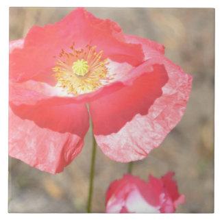 Open Heart Poppy Floral Ceramic Tile