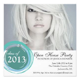 Open House Graduation Invitation Blue Circles