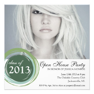 Open House Graduation Invitation Green Circles