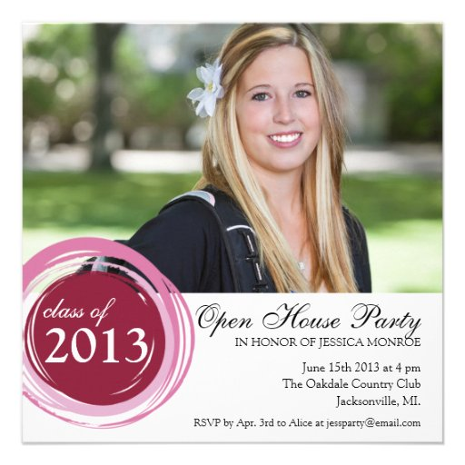 Open House Graduation Invitation Pink Circles