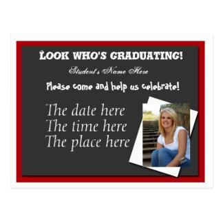 Open house graduation invitation postcard