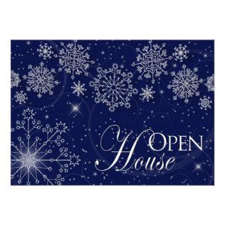 OPEN HOUSE - INVITATION - WINTER SEASON SNOWFLAKES CUSTOM ANNOUNCEMENT