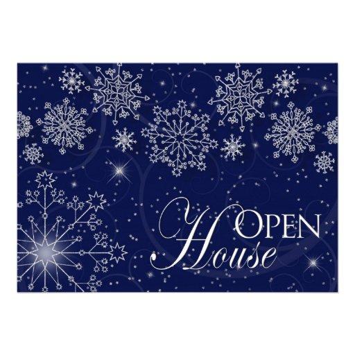 OPEN HOUSE - INVITATION - WINTER SEASON/SNOWFLAKES CUSTOM ANNOUNCEMENT