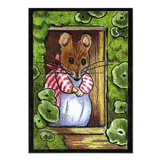 Open House Invite: Mrs. Tittlemouse At Door Card