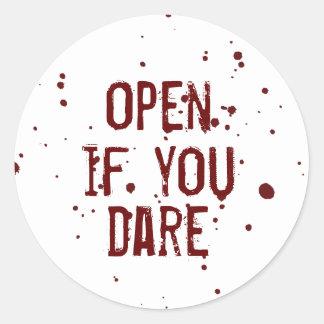 Open if you Dare Blood Splatter Halloween Sticker