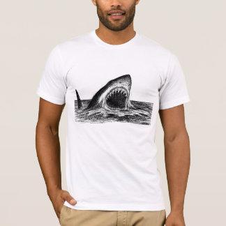 OPEN JAWS Great White Shark crosshatch art T-Shirt