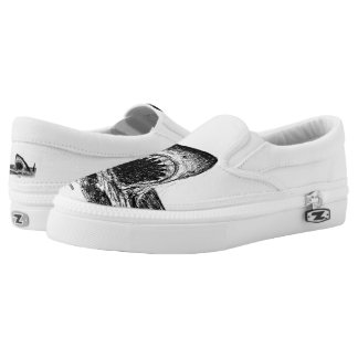 OPEN JAWS Great White Shark crosshatch Slip Ons