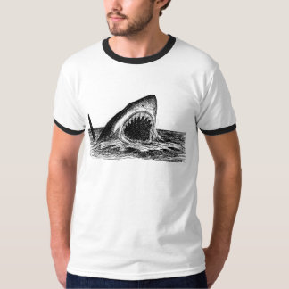 OPEN JAWS Great White Shark Ringer T-Shirt