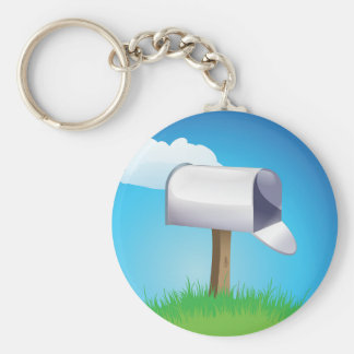 Open Mailbox Basic Round Button Key Ring