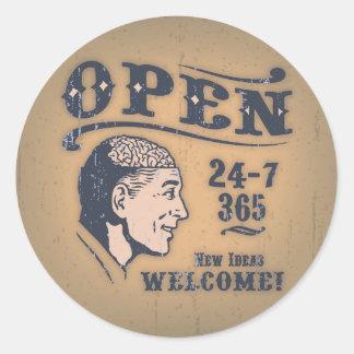 Open Minded Round Sticker