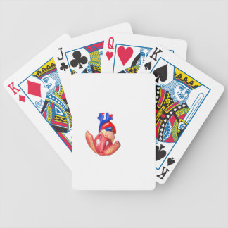 Open model human heart on white background bicycle playing cards