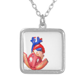 Open model human heart on white background silver plated necklace