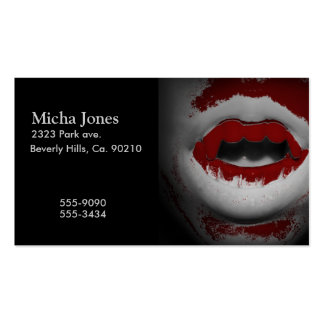 Open Mouth Bloody Vampire Fangs Business Card Template