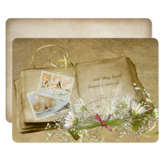 open old wedding scrapbook with bridal bouquet card