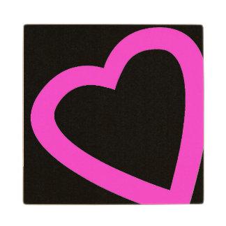 Open, pink heart wooden coaster. maple wood coaster