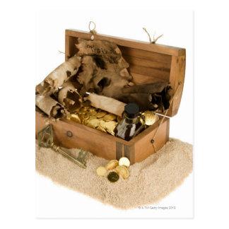 Open replica of treasure chest on sand postcard