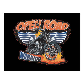 Open Road Warrior Motorcycle Wings Postcard