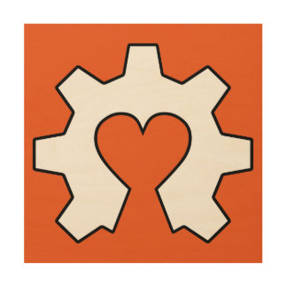 Open Source Love Wood Wall Hanging Wood Canvas
