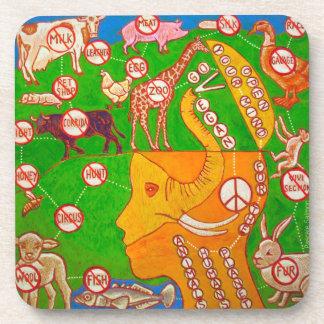 Open Vegan mind Drink Coaster