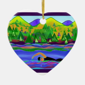 Open Water Solo Ceramic Ornament
