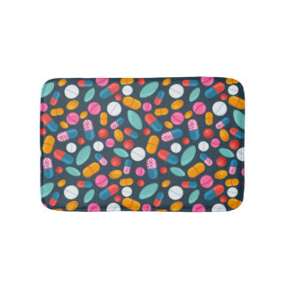 """Open wide!"" pill print bathmat"
