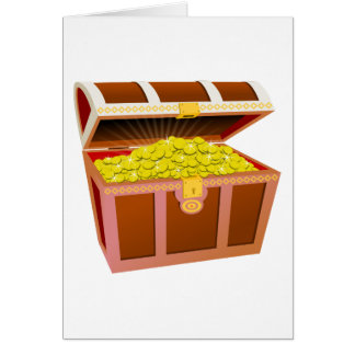 Open Wooden Treasure Chest with Shiny Gold Coins Greeting Card
