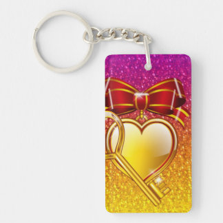 open your heart rectangle acrylic key chain