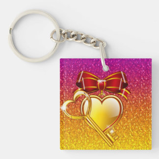 open your heart square acrylic key chain