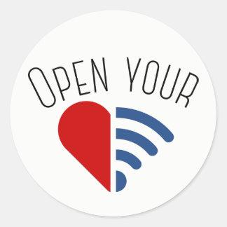 Open Your {WiFi,Heart} Round Sticker
