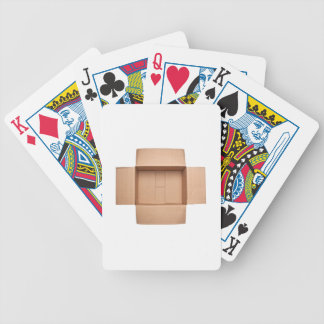 Opened corrugated cardboard box bicycle playing cards
