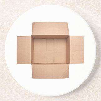 Opened corrugated cardboard box coaster