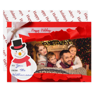 Opened Gift Reveals Family Photo Happy Holidays Card