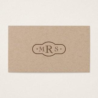 Openface Font Monogrammed Retro Bistre Business Card