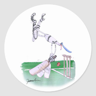 Opening Bat - cricket, tony fernandes Round Sticker