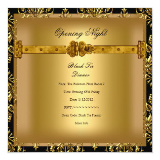 Opening Corporate Business Damask Black Gold 13 Cm X 13 Cm Square Invitation Card
