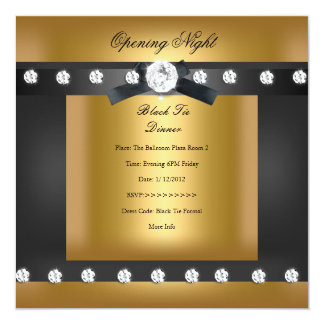Opening Corporate Business Formal Black gold 13 Cm X 13 Cm Square Invitation Card