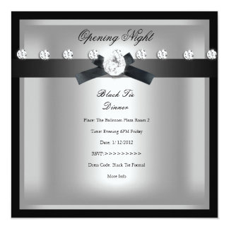 Opening Corporate Business Formal Black Silver 13 Cm X 13 Cm Square Invitation Card