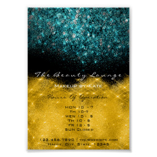 Opening Hours Gold Black White Confetti Teal Blue Poster