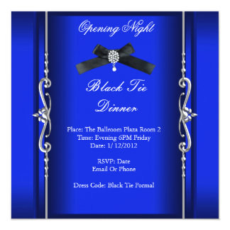 Opening Night Black Tie Formal Blue Silver Card