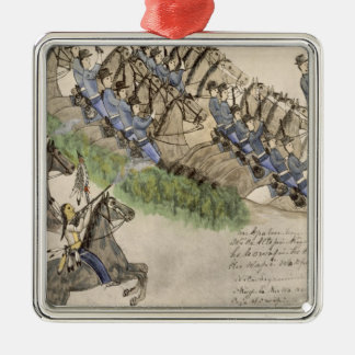 Opening of the Battle of the Little Big Horn (ink Metal Ornament