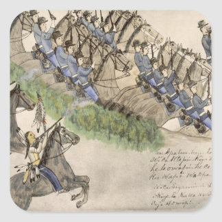 Opening of the Battle of the Little Big Horn (ink Square Sticker
