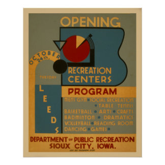 Opening Recreation Centers Vintage WPA Poster