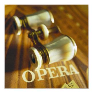 Opera Binoculars 13 Cm X 13 Cm Square Invitation Card