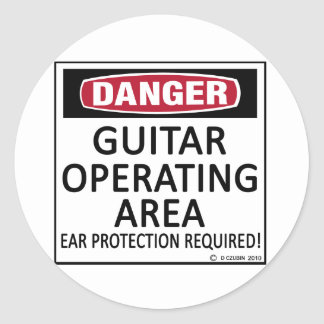Operating Area Guitar Round Stickers
