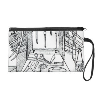 Operating table and surgical instruments, from 'Da Wristlet Purse