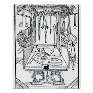 Operating table and surgical instruments, from 'Da Poster