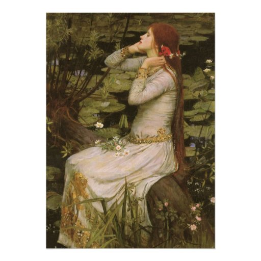 Ophelia (By The Pond) JW Waterhouse, Victorian Art Custom Invite